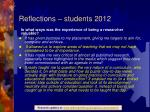 reflections students 2012