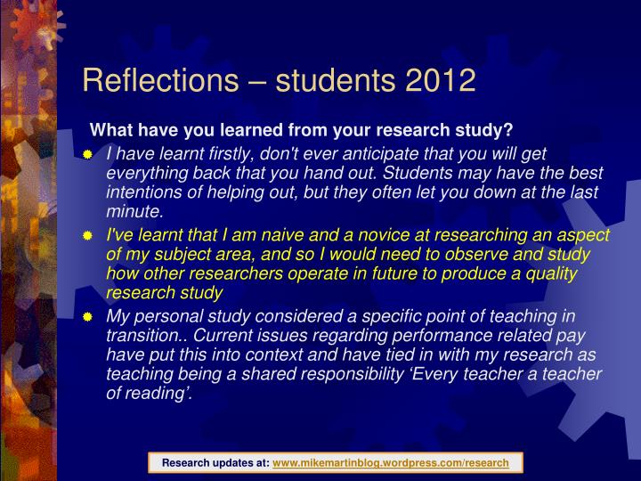 Reflections – students 2012