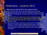 reflections students 20121