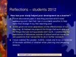 reflections students 20122