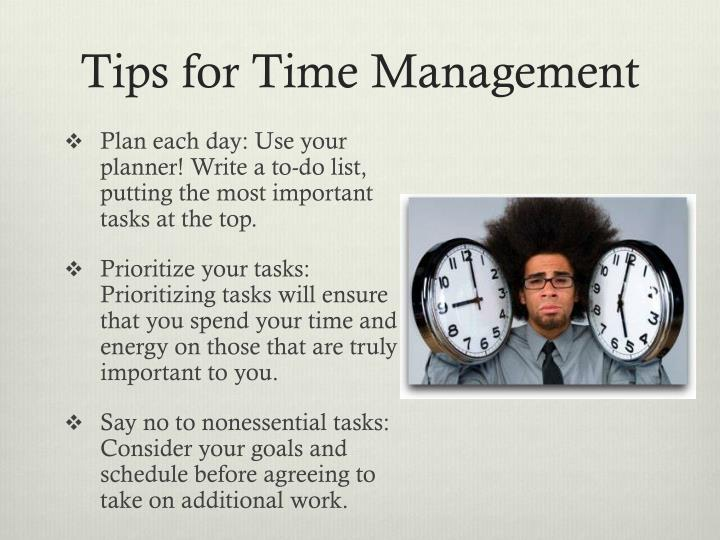 Tips for time management