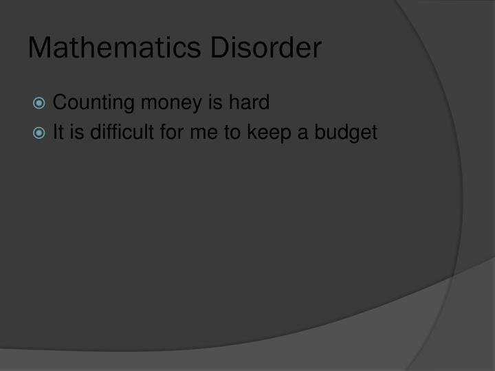Mathematics Disorder