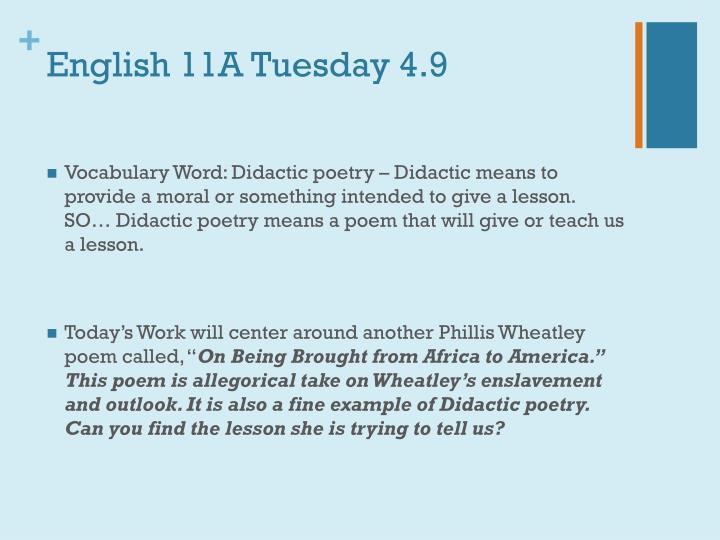 English 11A Tuesday 4.9