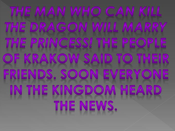The man who can kill the dragon will marry the Princess!