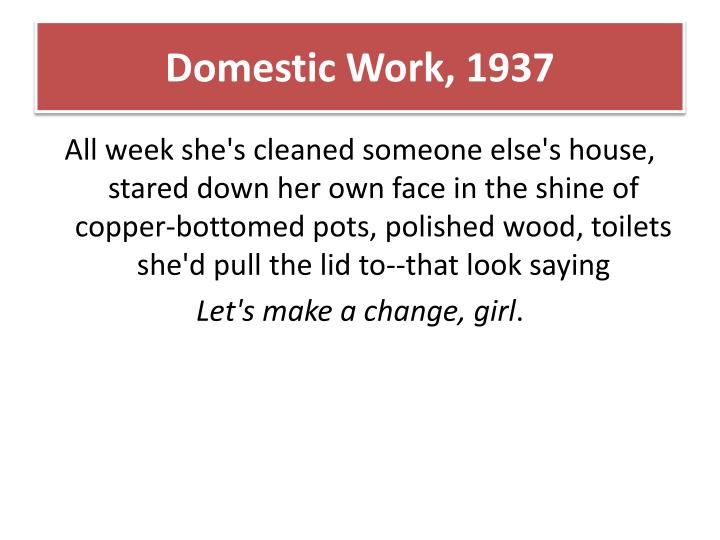 Domestic Work,