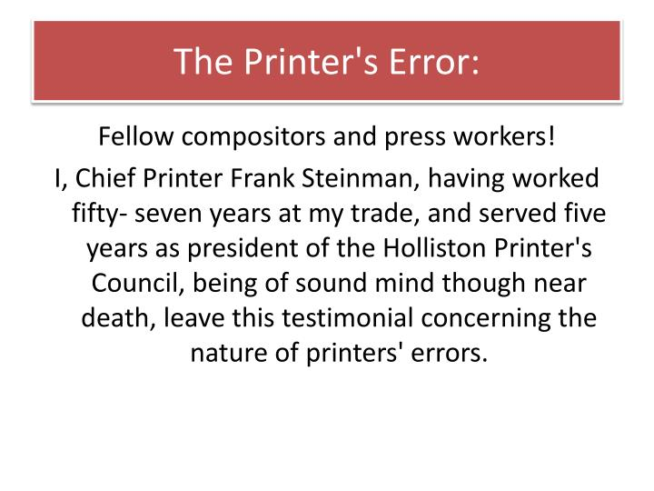 The Printer's Error: