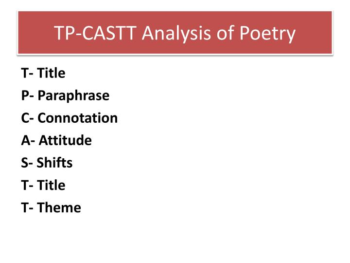TP-CASTT Analysis of Poetry