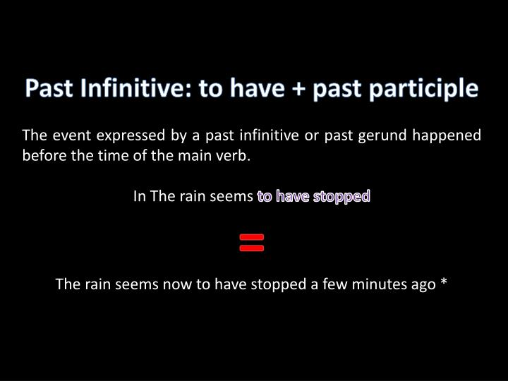 Past Infinitive: to have + past participle