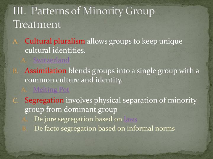 III.  Patterns of Minority Group Treatment