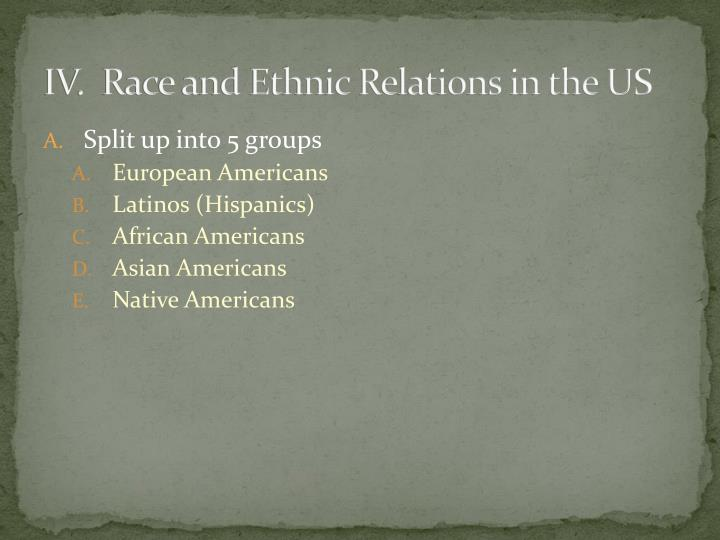 IV.  Race and Ethnic Relations in the US