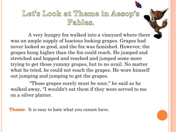 Let's Look at Theme in Aesop's Fables.
