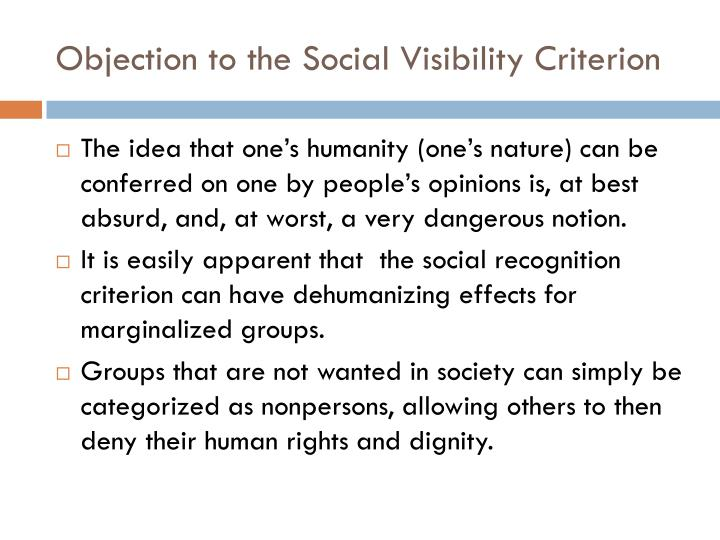 Objection to the Social Visibility Criterion