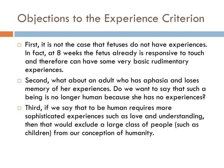 Objections to the Experience Criterion