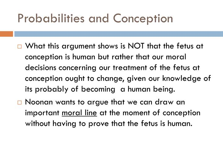 Probabilities and Conception