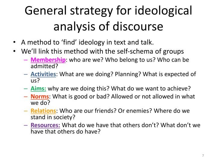 General strategy for ideological analysis of discourse