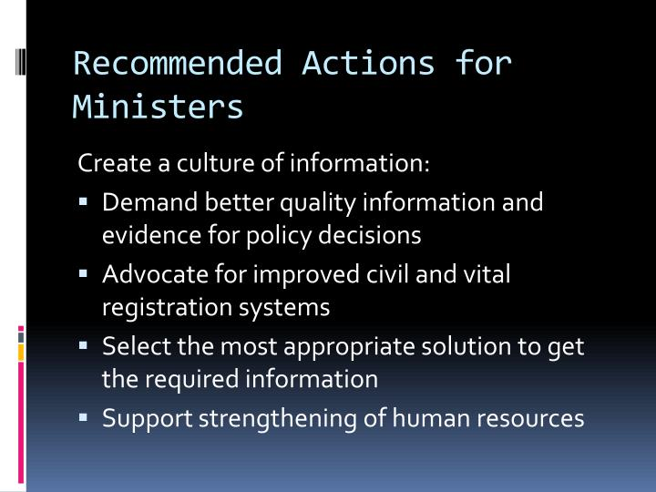 Recommended Actions for Ministers