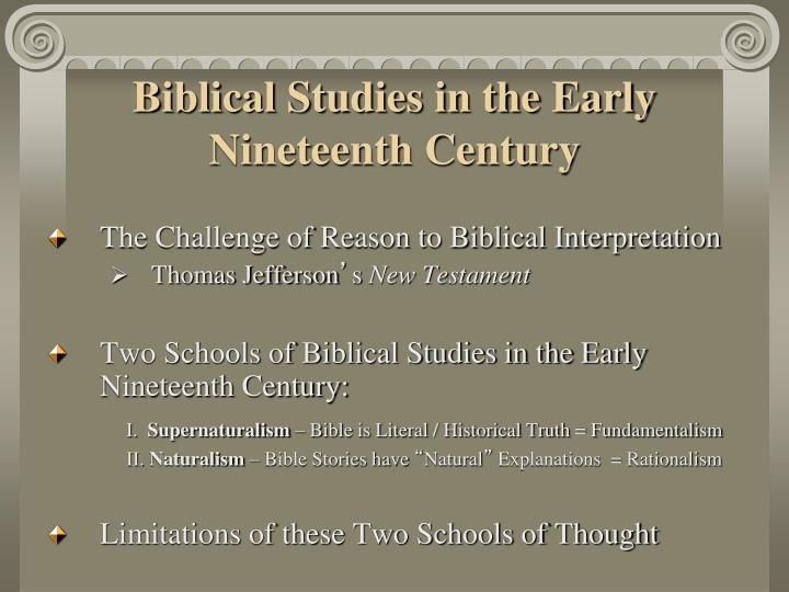 Biblical Studies in the Early Nineteenth Century