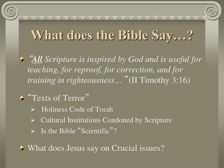 What does the Bible Say…?