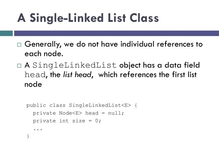 A Single-Linked List Class