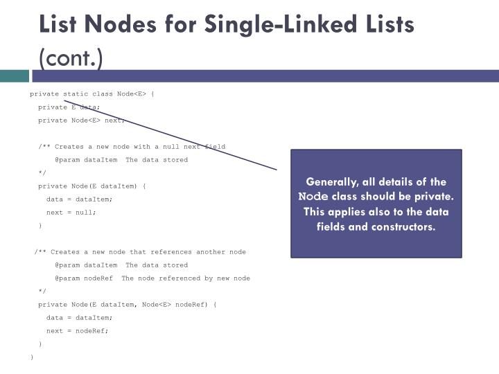 List Nodes for Single-Linked Lists