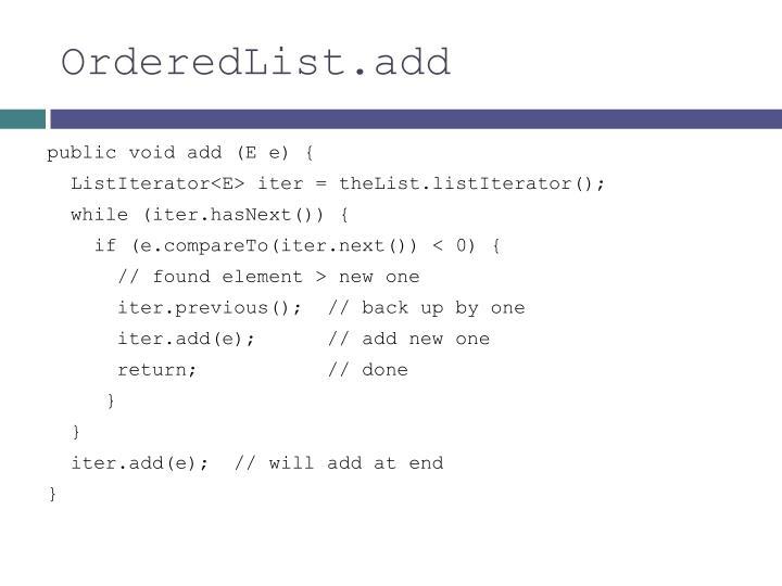 OrderedList.add