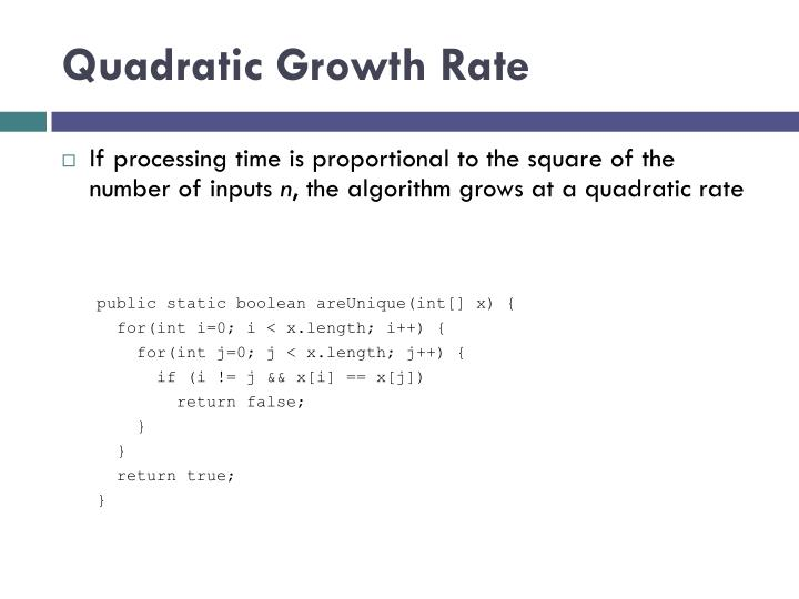 Quadratic Growth Rate