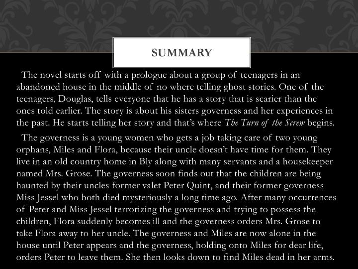 "a summary of the turn of the screw by henry james Lees ""the turn of the screw by henry james (book analysis) detailed summary, analysis and reading guide"" door bright summaries met rakuten kobo unlock the more straightforward side of the turn of the screw with this concise and insightful summary and analysis."