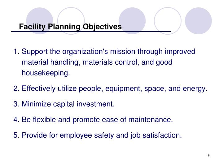 Facility Planning Objectives