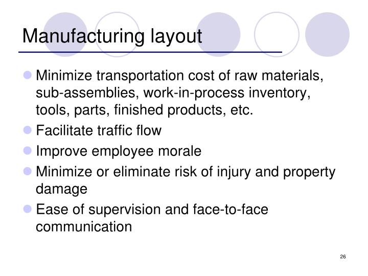 Manufacturing layout