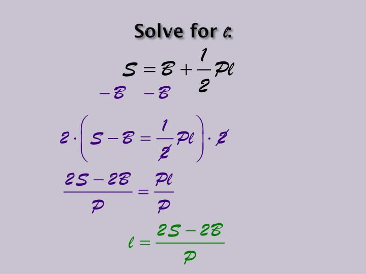 Solve for
