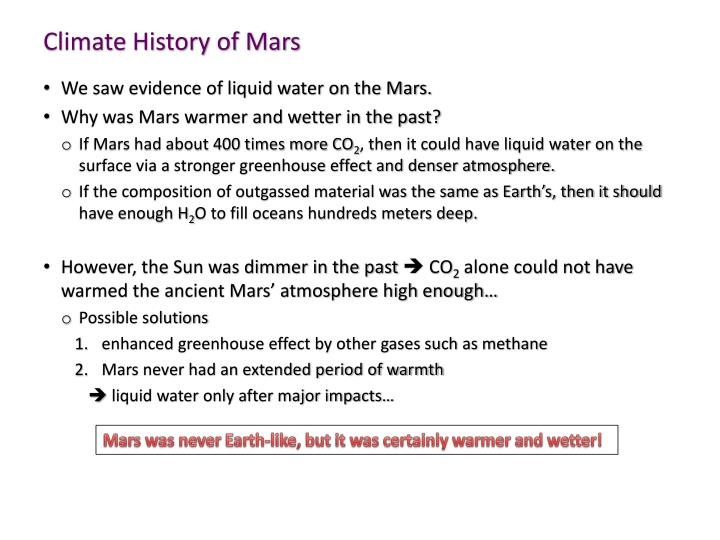 Climate History of Mars