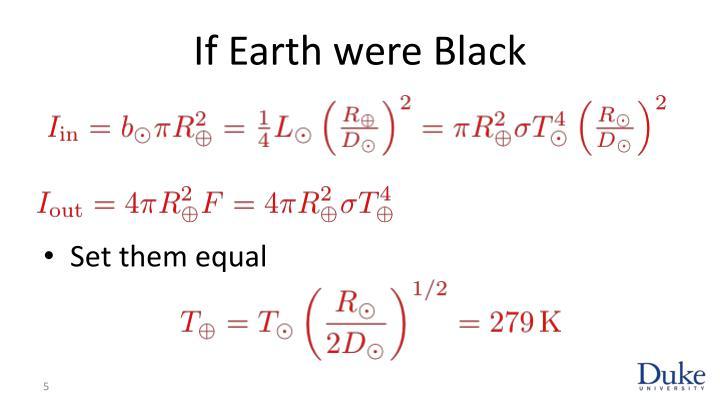 If Earth were Black