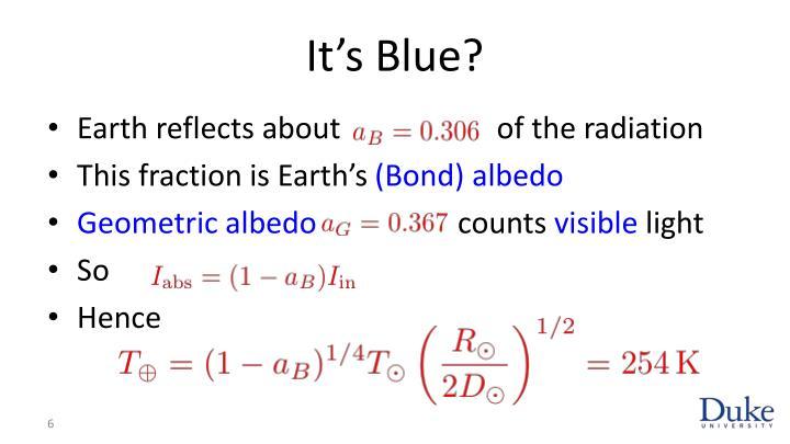 It's Blue?