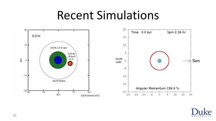 Recent Simulations