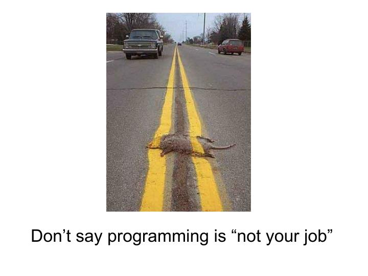 "Don't say programming is ""not your job"""