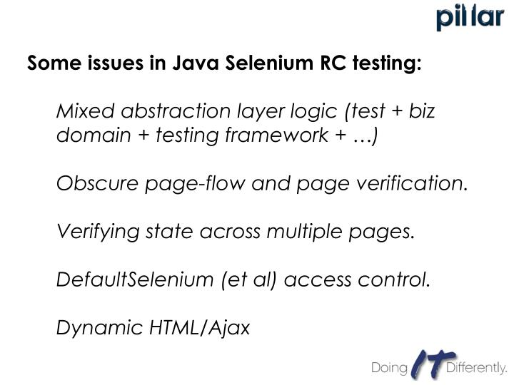 Some issues in Java Selenium RC testing: