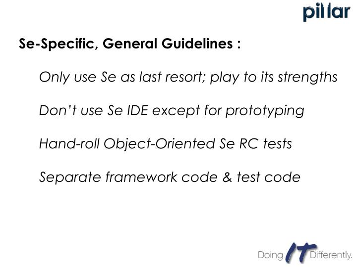 Se-Specific, General Guidelines :