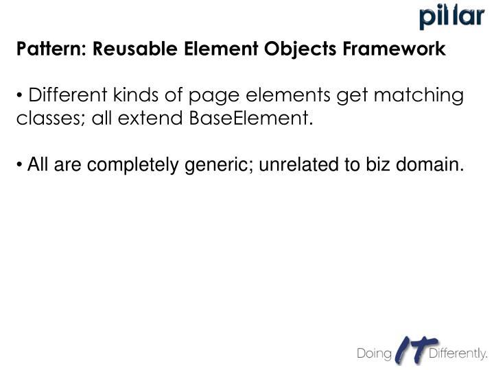 Pattern: Reusable Element Objects Framework