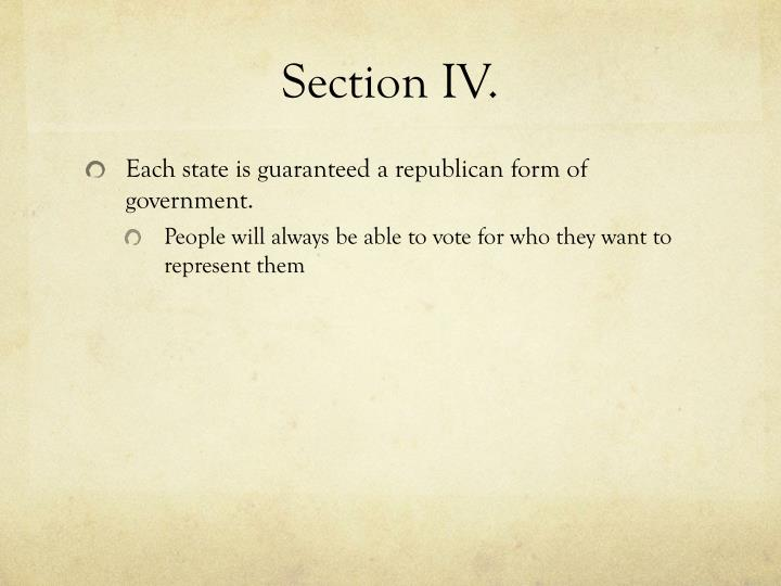 Section IV.