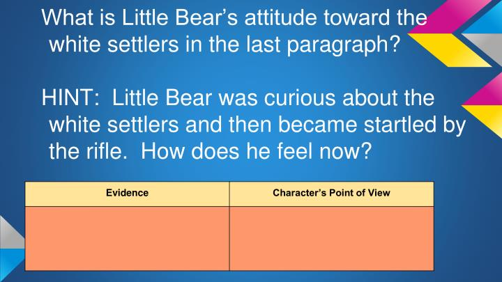 What is Little Bear's attitude toward the white settlers in the last paragraph?