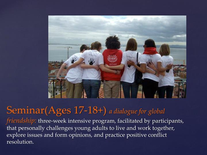 Seminar(Ages 17-18+)