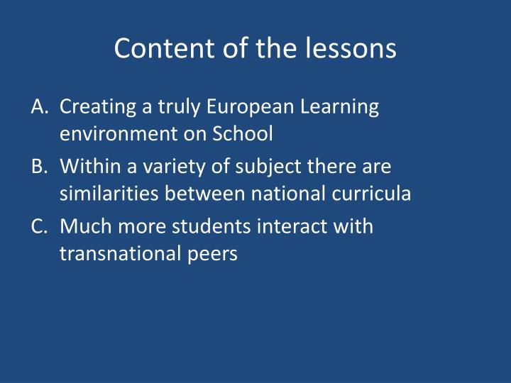Content of the lessons