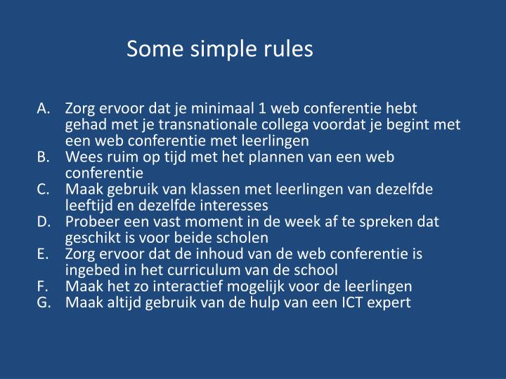 Some simple rules