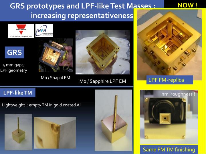 GRS prototypes and LPF-like Test Masses :