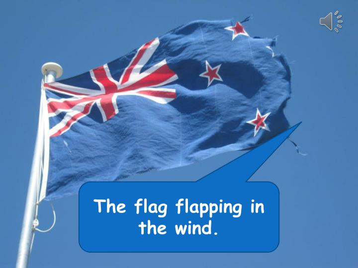 The flag flapping in the wind.