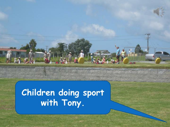 Children doing sport with Tony.