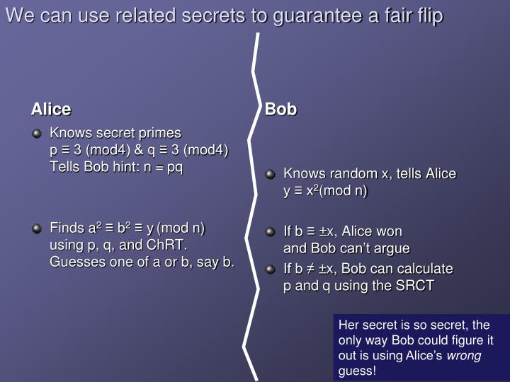 We can use related secrets to guarantee a fair flip