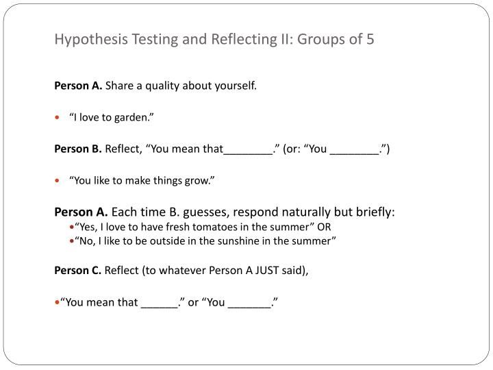 Hypothesis Testing and Reflecting II: Groups of 5