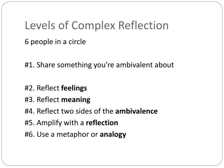 Levels of Complex Reflection