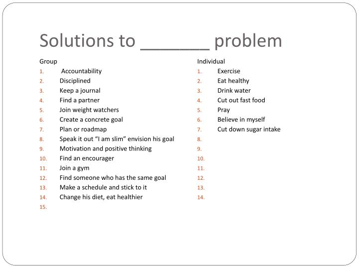 Solutions to _______ problem